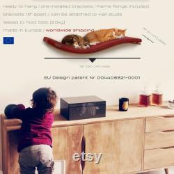 Wall Mounted Designer Wave Cat Shelf, Best Play Toy Scratching post, Minimalistic Wooden Pet Furniture, Premium Designer Pet Furniture