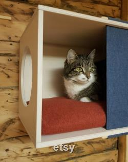 Wall mounted cat perch with textile panel Minimalist cat house