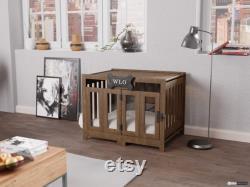 Walnut and Ivory Pueblo Modern Dog Crate, Dog Bed, Dog Crate, Dog Kennel, Wood Dog House, Pet House, Pet Furniture, Dog Furniture