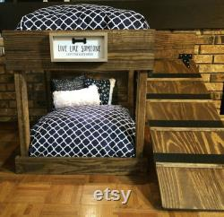 Walnut stain Dog Bunk Bed FRAME, personalized sign, top light and ramp ONLY
