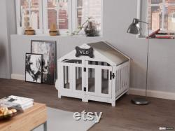 White and Gray Gabled Modern Dog Crate, Dog Bed, Dog Crate, Dog Kennel, Wood Dog House, Pet House, Pet Furniture, Dog Furniture, WLO