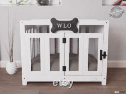 White and Gray Pueblo Modern Dog Crate, Dog Bed, Dog Crate, Dog Kennel, Wood Dog House, Pet House, Pet Furniture, Dog Furniture, WLO