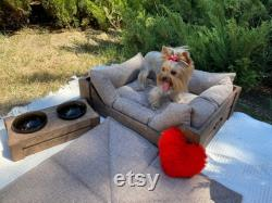 Wood Dog Bed Feeding Station and Car mat Set