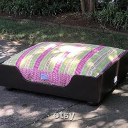 Wood Dog Bed, XL Painted Pet Bed in 11 Different Colors, Custom Cushion, Best Pet Furniture