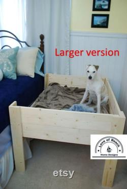 Wood Raised Elevated Dog Bed Platform with 3 Raised Sides Daybed
