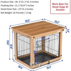 Wood and Wire Dog Crate, Pet Crate End Table, Wooden Dog Cage House, Dog Kennel Indoor Wooden Crates Bed Side Furniture for Small Medium Pets