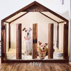Wooden Pet House, Cat Bed, Wood Dog House, Pet House,Walnut Solid Pine Wood Dog Bed, Pet Furniture, Dog Furniture, Sweet Home Series WLO