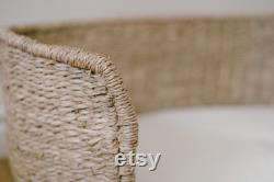 Woven Pet Bed with Cushion Seagrass, Organic Cotten Blend Bed, Washable Removable Cover, Dog Bed, Cat Bed