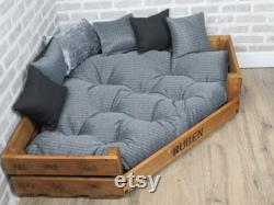 XL Personalised Rustic Wooden Corner Dog Bed In Grey Fabric