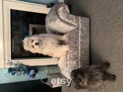 pet bed in shimmer material on a sturdy frame cn be personalised with your pets name