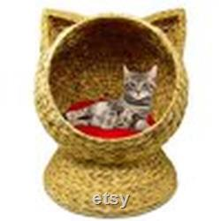 water hyacinth 20 hand made cat bed basket house with washable cushion 2021