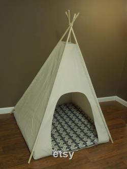 36 Tente Grand Chien Teepee Pet -36 Base Toile Naturelle Pick Your Pillow Or Custom Commandez-le