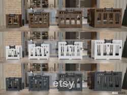 Blanc Et Gris Pueblo Crate De Chien Moderne, Lit De Chien, Crate De Chien, Kennel De Chien, Wood Dog House, Pet House, Meubles De Chien, Meubles De Chien, Wlo