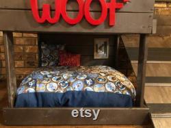 Brown Dog Bunk Bed Frame, Signe Personnalisé, Lumière Supérieure Et Rampe Seulement