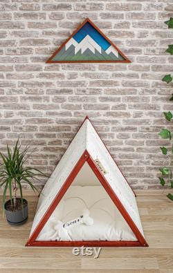 Confetti-rosewood Modern Dog House, Lit De Chien Intérieur, Chats Tipis, Wood Pet House.