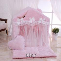 Coral Velvet Tente Maison Pour Animaux De Compagnie Soft Kennel Chaud Épais Coussin Pet Nest Kitten House Dog Bed Cat Bed Pet Stand House