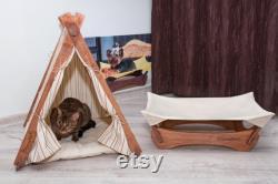 Ensembles Teepee Et Hammock, Dog Teepee, Dog Tend, Cat Tent, Cat Hammock, Dog Hammock, Dog Bed, Cat Bed, Dog House, Pet Teepee, Pet Supply