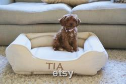 Feed Sack Bolster Dog Bed With Insert Red Stripe, Blue Stripe, Tan Stripe Ou White Stripe Reproduction Tissu De Sac À Grains