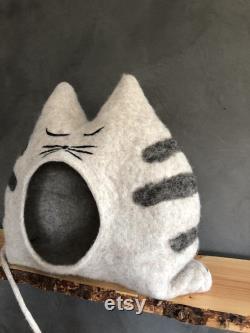 Findus Tiger Cat House Beige, Fait À La Main, Unique, Cave De Chat, Chat, Cadeau, Laine, Lit De Chat, Cat Lover, Meubles De Chat