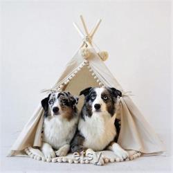 Grande Tente De Tipi De Crabot Avec Des Meubles Modernes D'animal Familier De Décor De Pom Poms