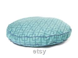 Gridlock Round Dog Bed, Green And Blue Geometric Pattern Dog Bed En 3 Tailles, Meubles Pour Animaux De Compagnie
