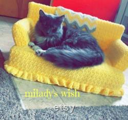Kitty Cat Couch, Crochet, Petit Lit De Chien Ou De Chat, Fait Sur Commande Avec Le Jouet Gratuit Catnip Crazies Et Livraison Gratuite