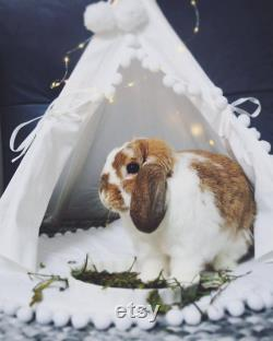 Lapin Teepee, Lit De Lapin De La Maison De Lapin De Coton Naturel, Bunny Teepee, Pet Teepee Avec Pom Pom Pad