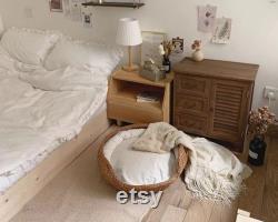 Lit De Chat En Osier Avec Coussin Fait Main Ovale Tissé Ratten Cat Bed Basket Natural Cat Rabbit Kitten Furniture