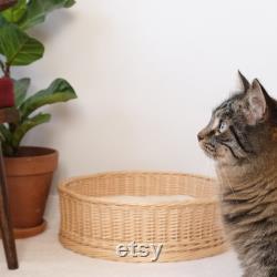 Lit De Chat En Osier. Maison Naturelle Pour Chat. Meubles Pour Votre Chat.