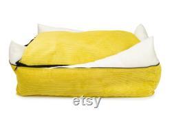 Lit De Chien Orthopédique Lavable Pro Medical Sizes S XXL Couverture Amovible Foam Hypoallergénique Remplir Minimaliste Lit De Chien Jaune