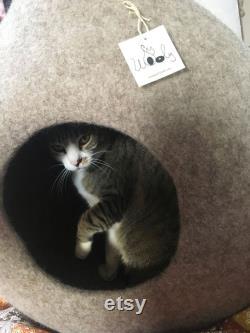 Lit De Grotte De Chat, Laine De La Grotte De Chat, Cat Lover Gift, Lit De Chat Moderne, Grotte De Chat Pour Les Grands Chats, Lits De Chat Laine. Fabriqué À La Main En Italie