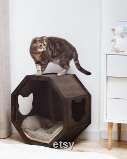 Lit Mural Pour Chats, Lit Cat Moderne, Maison De Chat En Bois À L'intérieur, Meubles De Chat, Étagère D'escalade De Chat, Cadeau Propriétaire De Chat