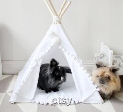Lit Pour Lapin Pet Bed De Coton Naturel, Tipi De Lapin Avec Pom Pom Pad