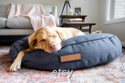 Lit Rond Dans Navy Newfie Designer Dog Bed For Small To X-large Dogs Herringbone Navy Pet Bed Durable Sunbrella Fabric