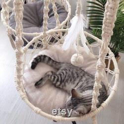 Macrame Cat Hammock Cat Lit Mural Suspendu Décoratif Macrame Pet Hammocks Cat Fournitures Macramé Mur Lit Chat Suspendu Maison De Chat Fête Des Pères