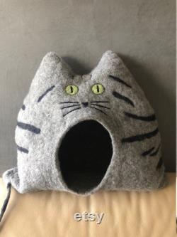Maison De Chat Polly Tiger Cave De Chat Avec Les Yeux Ouverts, Unique, Cave De Coudly, Fait À La Main, Idée Cadeau, Noël, Cadeau D'anniversaire