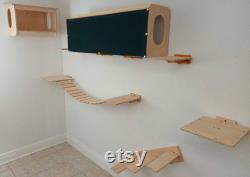 Meubles De Chat Moderne 9-pc Pour Mur De 8', Incl Maison De Lit De Chat Mural, Tunnel De Chat, 45 Pont De Chat, Escaliers De Chat, Divers Étagères De Mur De Chat