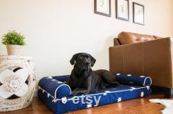 Moderne Boho Dog Bed Bolster Pillow Optional Waterproof Liner