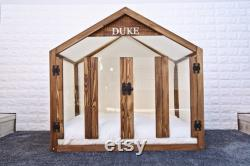 Noyer Solide Pine Wood Dog Bed, Wooden Pet House, Cat Bed, Wood Dog House, Pet House, Meubles Pour Animaux De Compagnie, Meubles Pour Chiens, Sweet Home Series Wlo