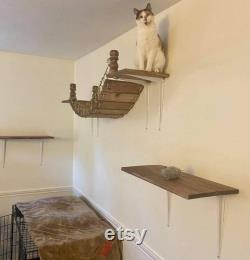 Passerelle De Chat Avec Des Atterrissages Modernes De Meubles De Chat Étagères Cat Shelf Cat Tower Cat Bridge Cat Tree Rustic Cat Decor