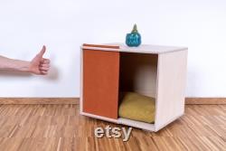 Pet House Ou Lit Avec Panneau Textile Artisanal Chat House Moderne Intérieur Chien Maison