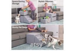 Petfusion Hybrid Pet Furniture Foldaway Dog And Cat Steps. Lit De Perche D'unité De Stockage De Jouet Et De Fenêtre De Chat 18x18x18