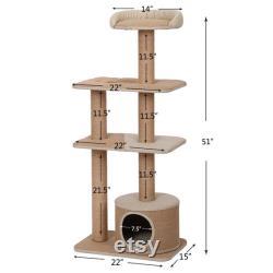 Petpals, Flèche 51 4 Niveau Beige Cat Tree Avec Condo Et Perche