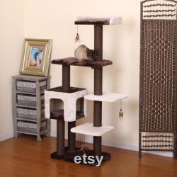 Petpals, Midnight Molly, 5 Niveau 60.5 Cat Tree Avec Condo, Perche, Poteaux De Corde En Papier Et Jouets À Plumes