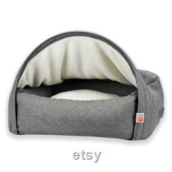 Sleepy Fox Snuggle Cave Dog Bed Premium Quilted Design Grey Size Large 110cm X 85cm X 27cm (41.5 X 29.5 X 10.5 ) For Big Dogs
