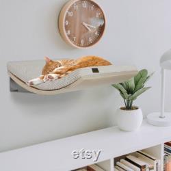 Support Mural Designer Étagère De Chat Courbé, Plate-forme Flottante Moderne Lit De Chat, Perche Flottante De Qualité Supérieure, Meubles En Bois Minimaliste