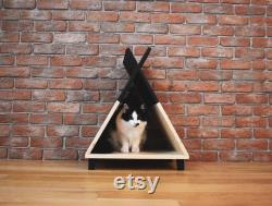 Teepee Cat House, Room Decor, Wooden Pet House, Cat Wigwam, Cat House, Cat Lodge, Pet Teepee, Pet Wigwam, Pet House, Cat Furniture