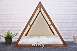 Walnut Solid Pine Wood Dog Bed, Wood Dog House, Cat Bed, Teepee Cat Bed, Wood Pet House, Meubles Pour Animaux De Compagnie, Meubles Pour Chiens, Série Triangle, Wlo