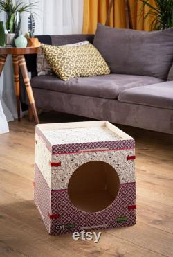 Woodenvita Easy Assemble Wooden Pet House, Printed Pet House, Modern Pet House, Dog And Cat House, Indoor Dog And Cat House, Meubles Pour Animaux De Compagnie